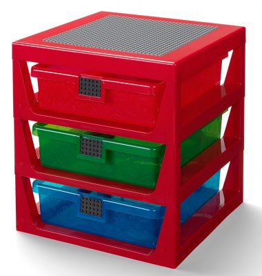LEGO 3-Drawer Rack, röd